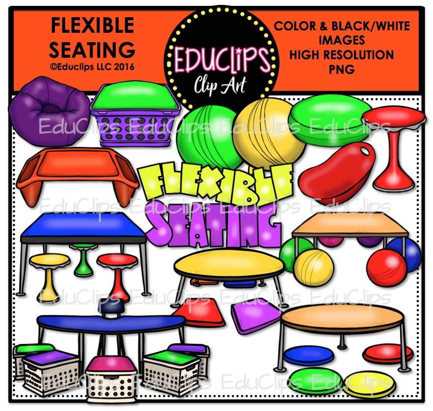 Flexible Seating Clip Art Bundle (Color and B&W).
