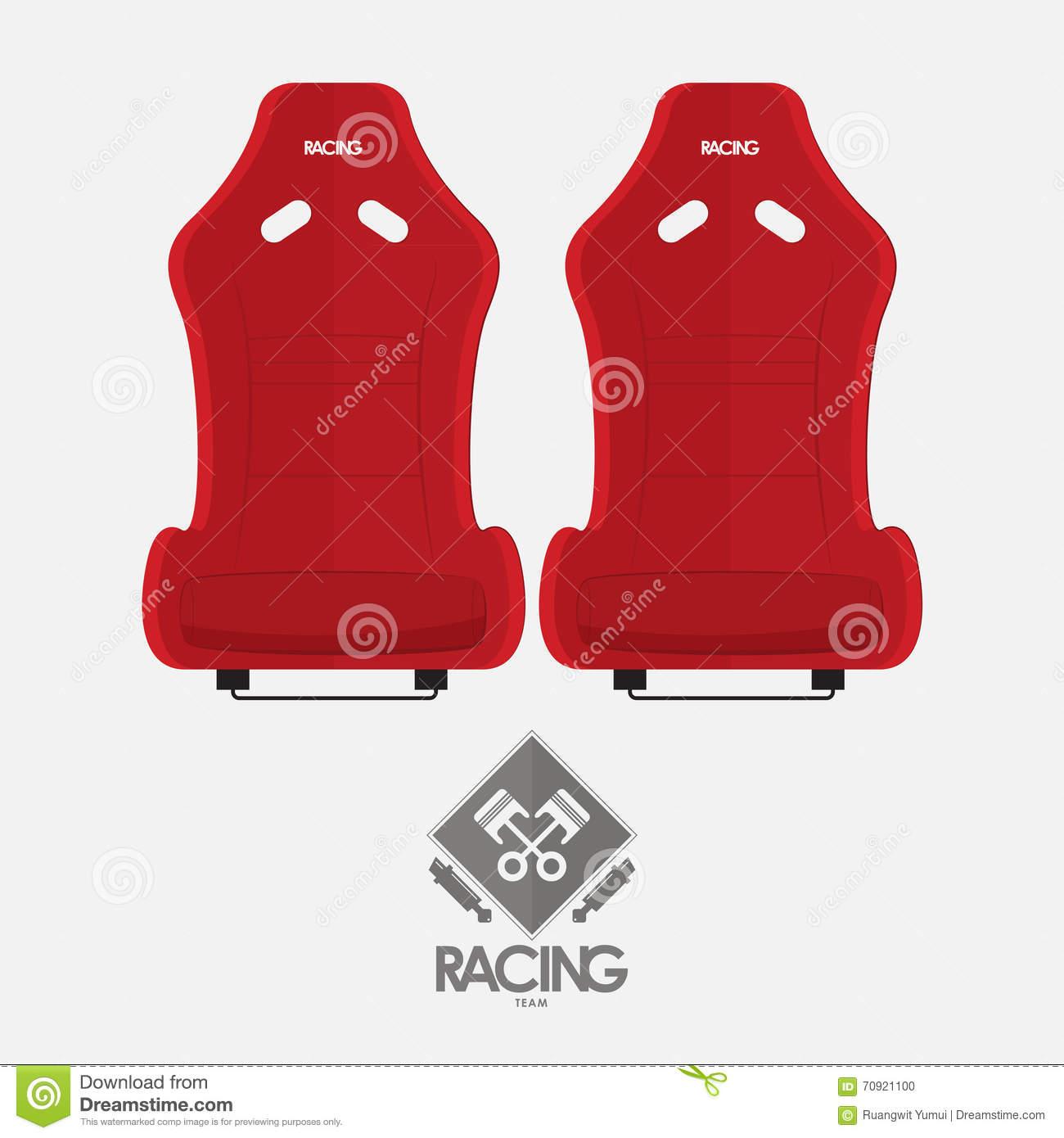Red Racing Bucket Seats In Flat Design. Garage Logo. Stock Vector.