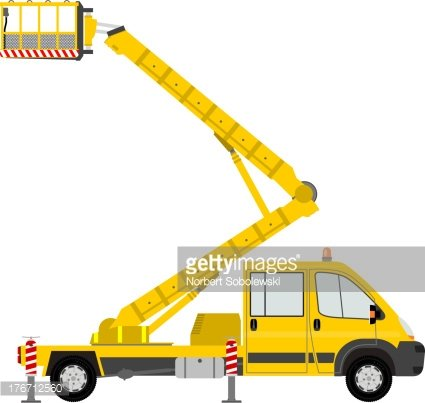 Illustration of a yellow bucket truck Clipart Image.