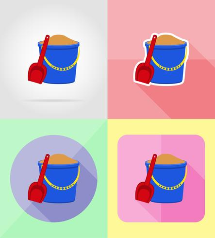 plastic bucket and shovel flat icons vector illustration.