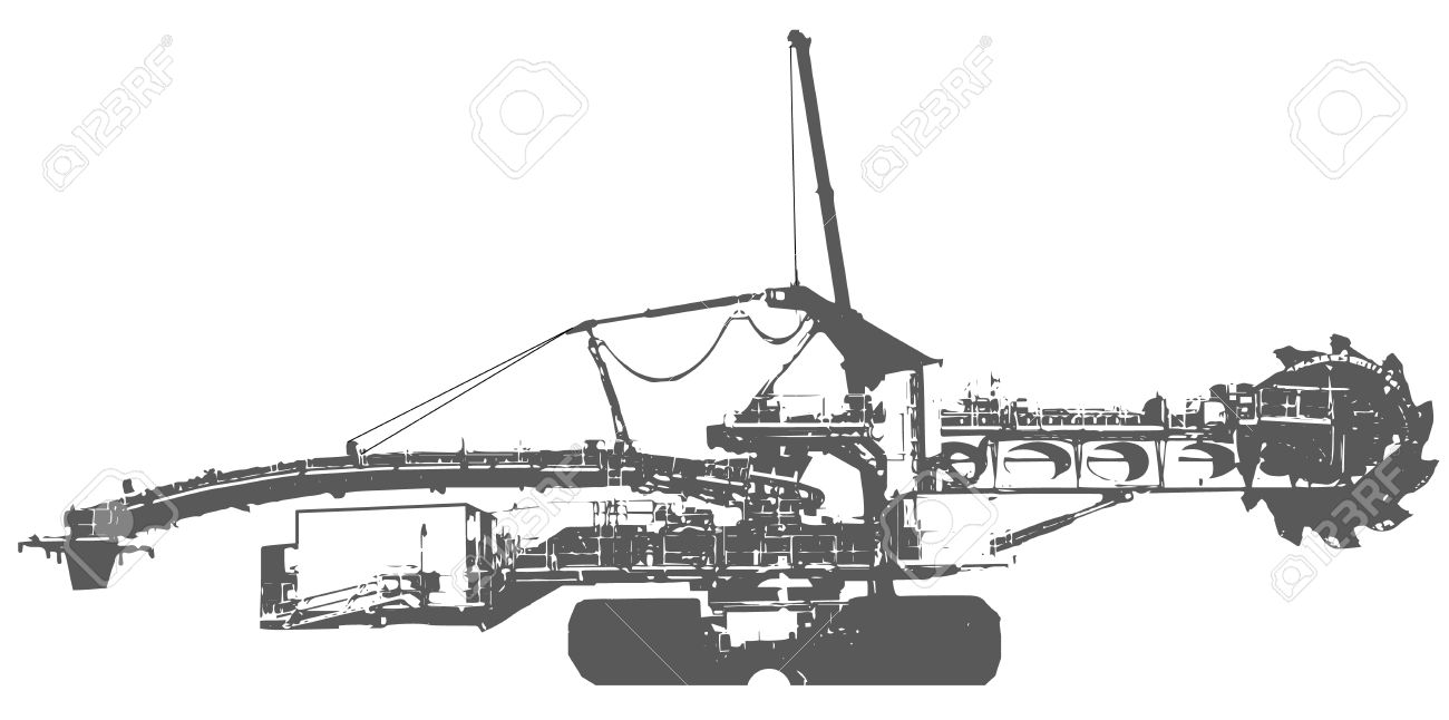 Bucket Wheel Excavator Silhouette Illustration, Isolated On White.