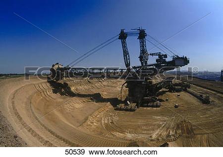 Stock Photograph of Bucket wheel excavator at opencast mine.