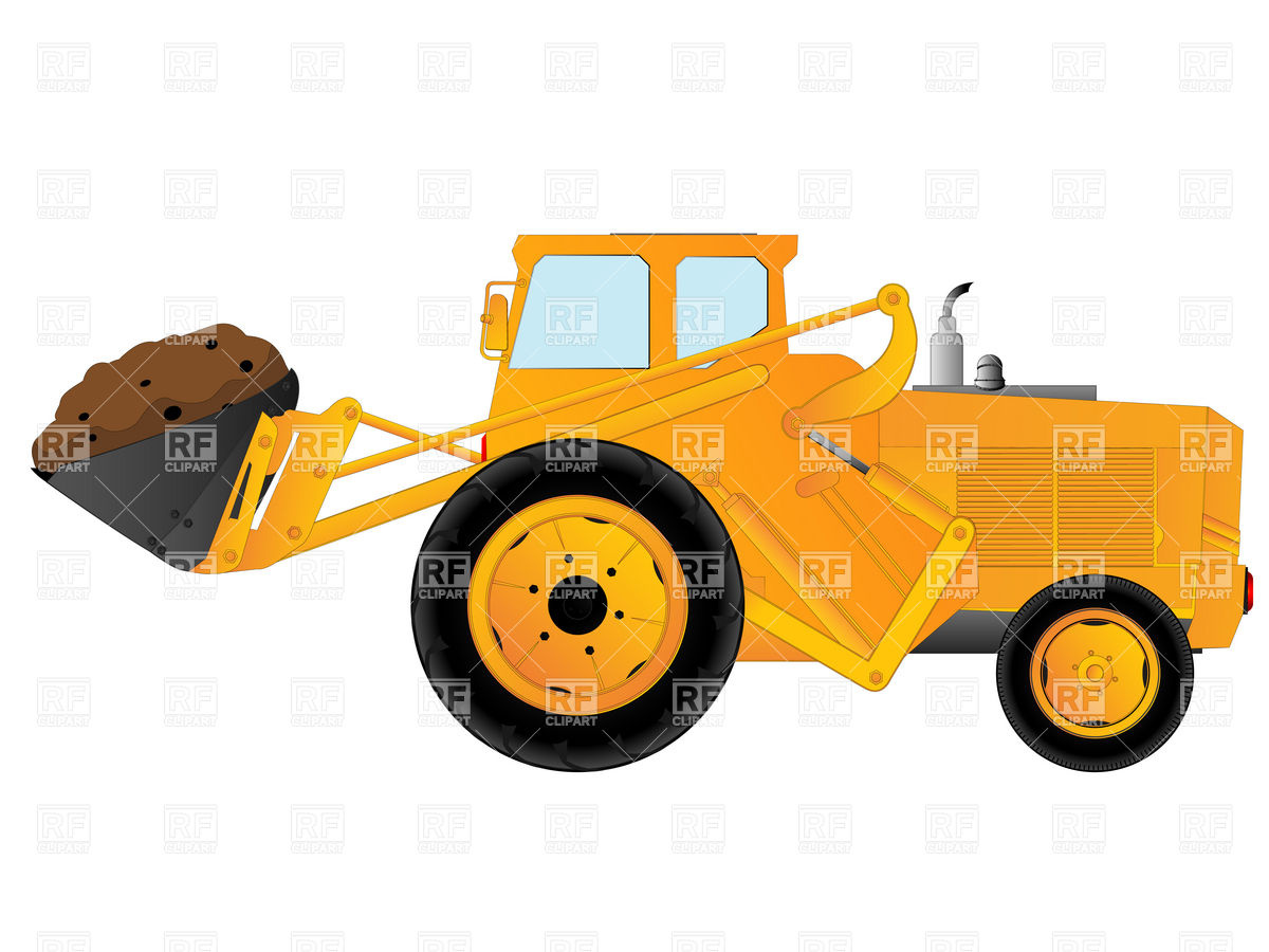 Heavy wheeled excavator with bucket.