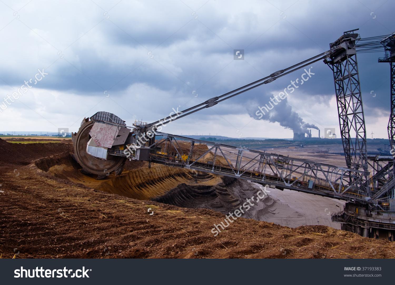 Giant Bucket Wheel Excavator Coal Open Stock Photo 37193383.