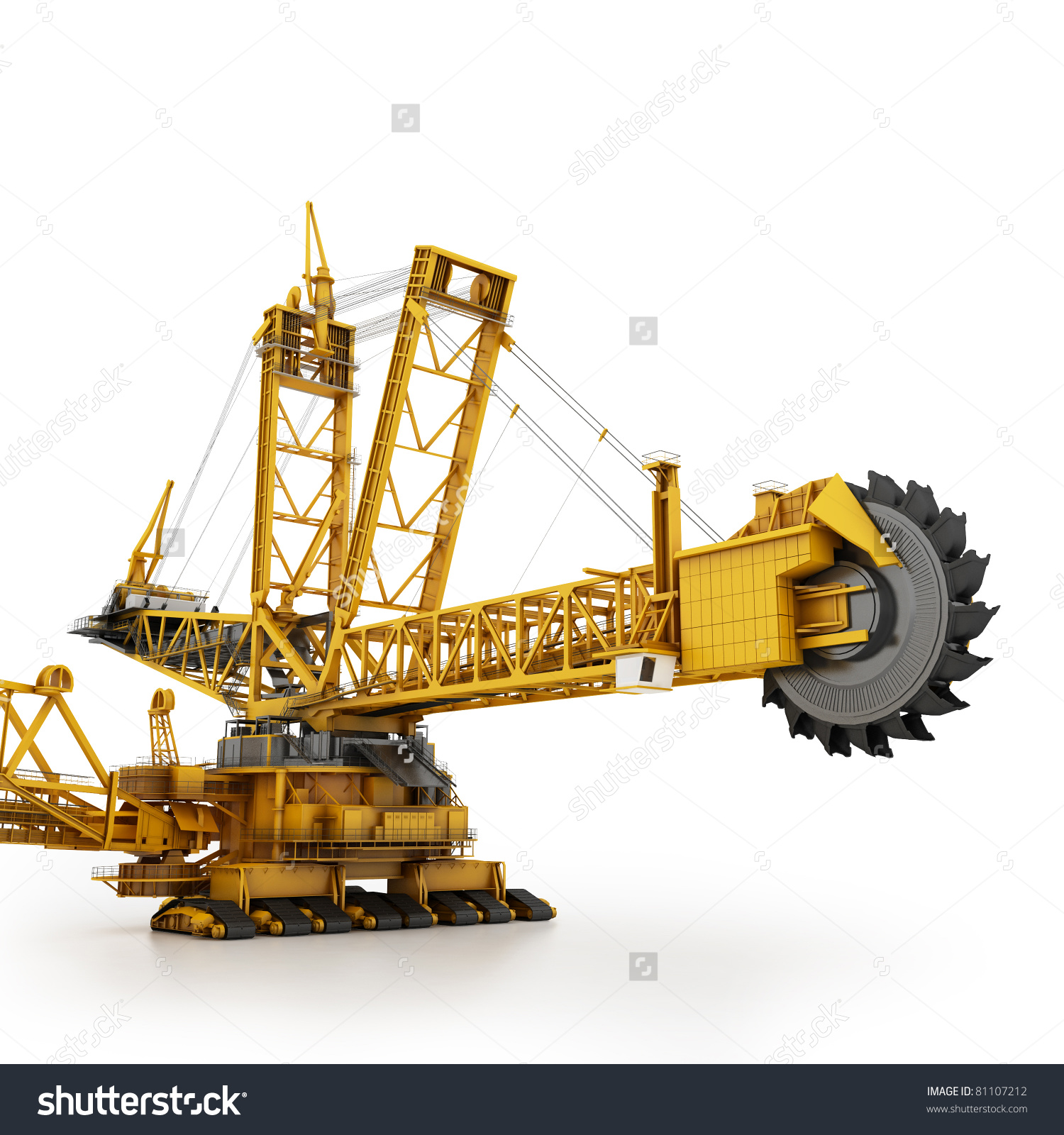 Bucket Wheel Excavator Isolated On White Stock Illustration.