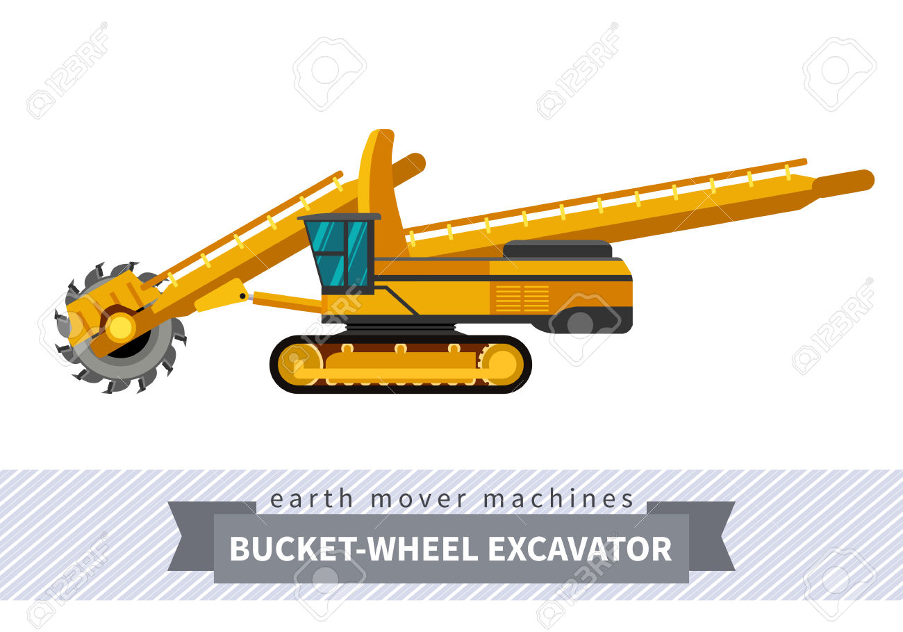 Bucket Wheel Excavator. Heavy Equipment Vehicle Isolated Color.