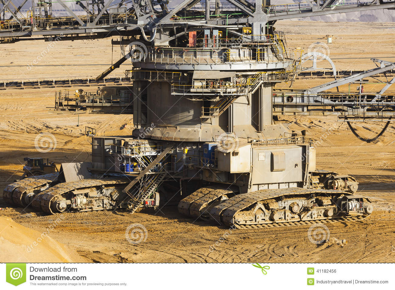 Bucket Wheel Excavator Caterpillars Stock Photo.