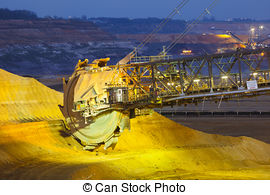 Pictures of Bucket Wheel Excavator At Night.