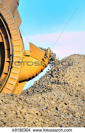 Stock Photo of bucket wheel excavator for digging the brown coal.