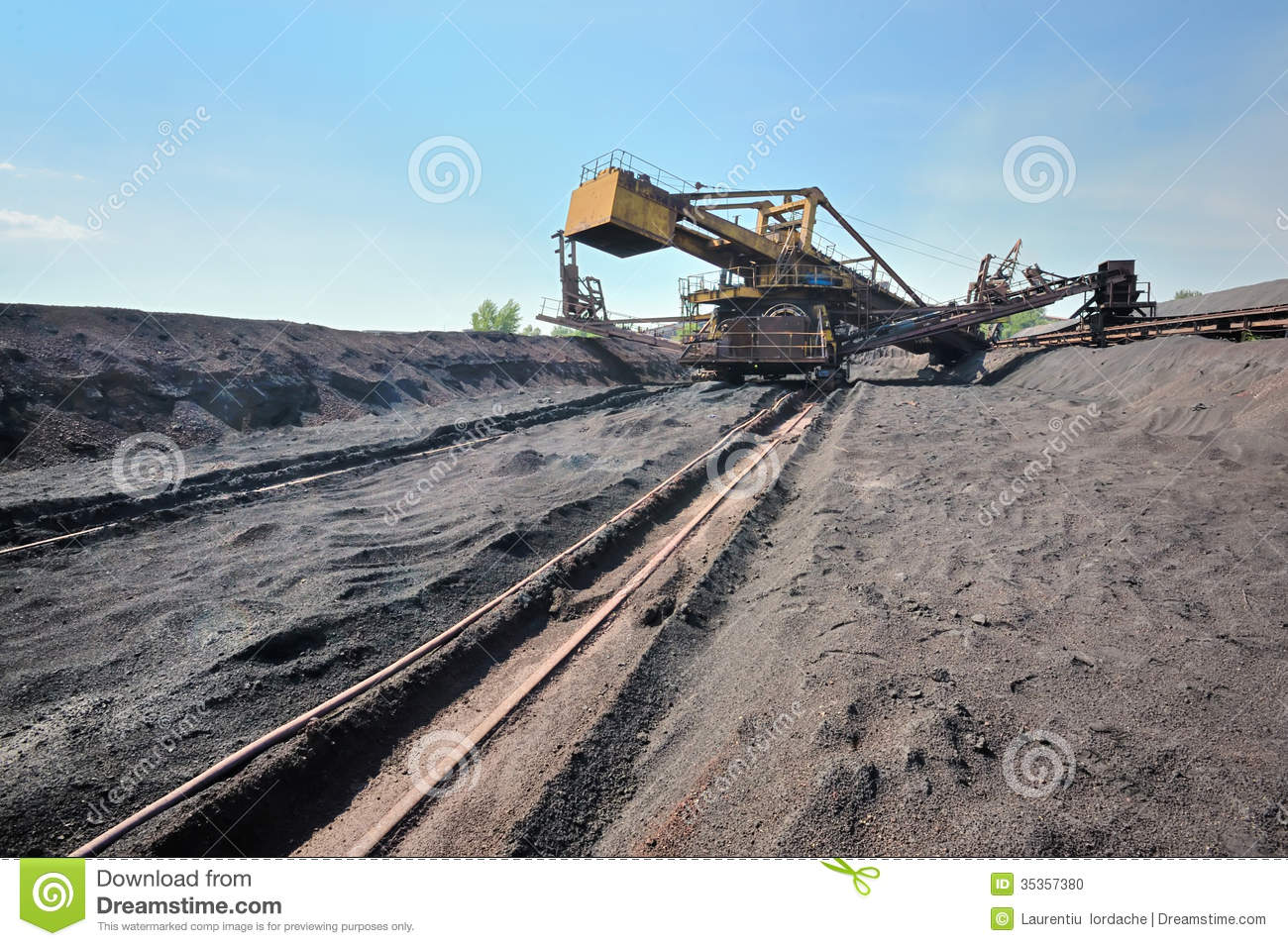 Bucket Wheel Excavator Stock Photo.