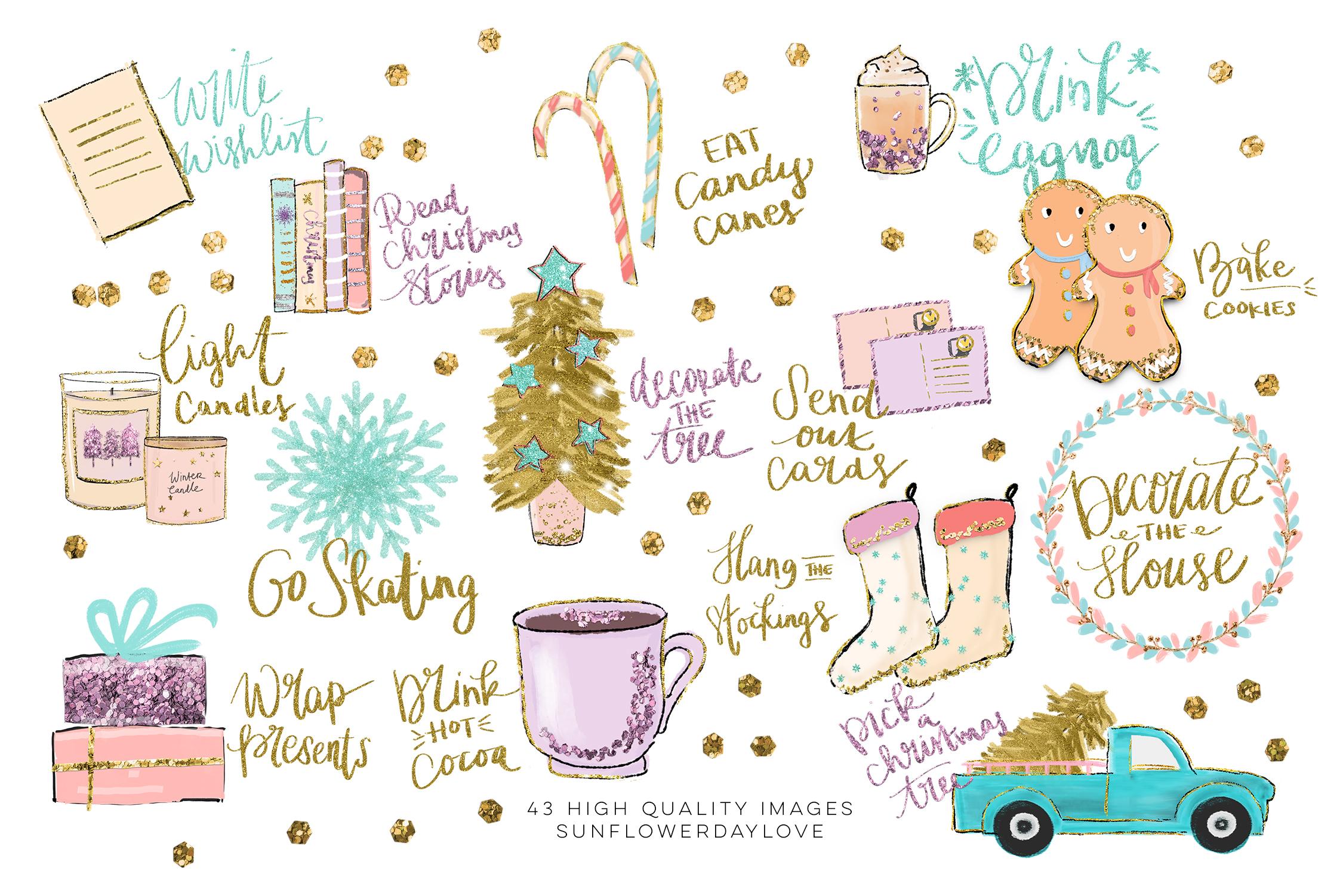 Holiday Bucket List Clip art, Winter Stickers clipart.
