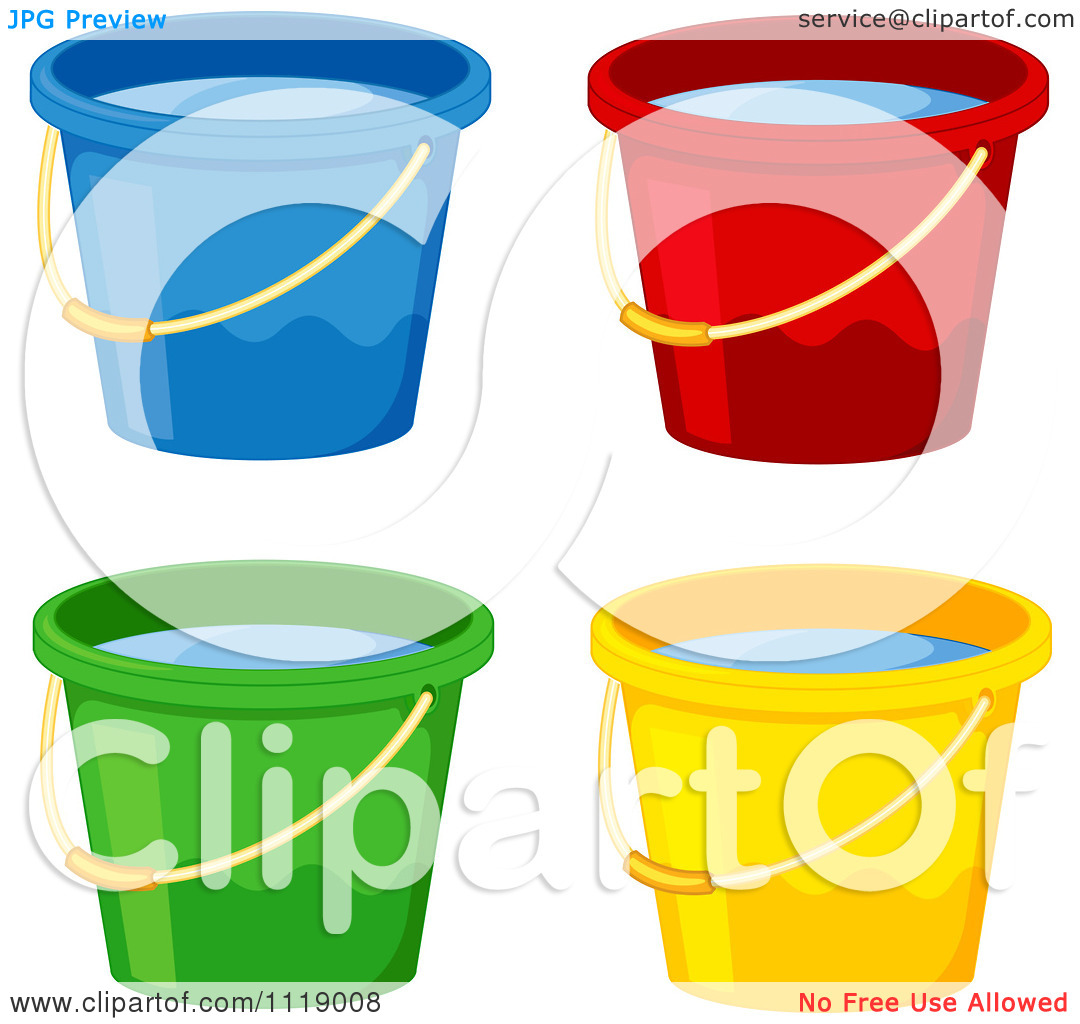 Vector Clipart Colorful Buckets Full Of Water.