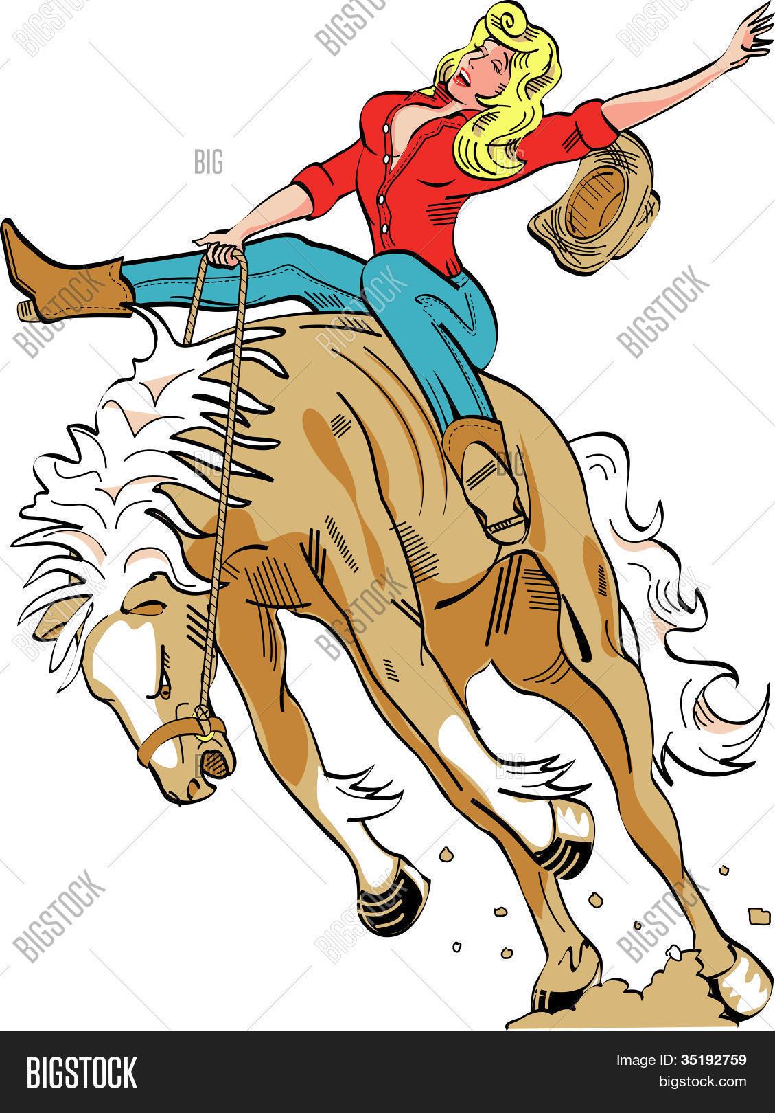 Horse Bucking Bronco Cowgirl Clip Art Stock Vector & Stock Photos.