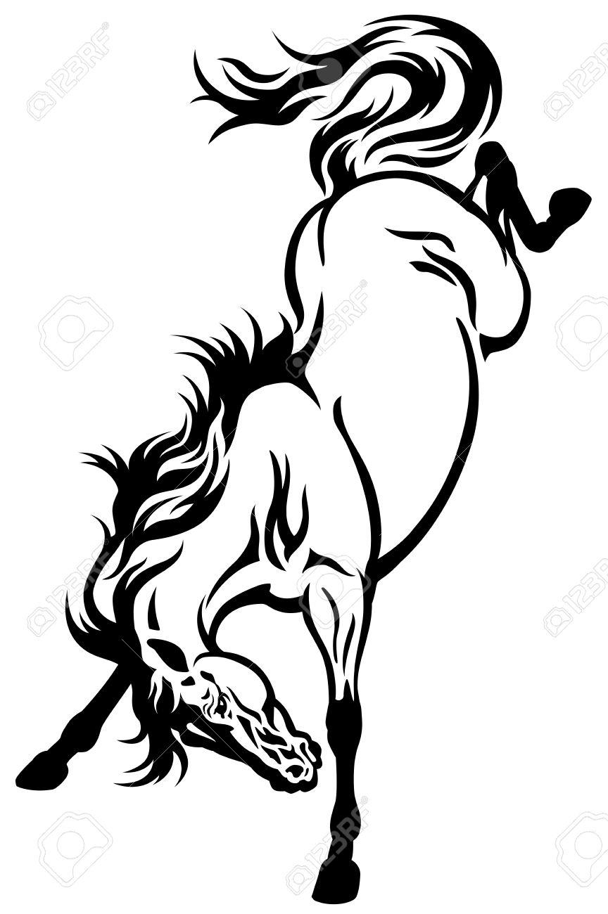 bucking horse tettoo black and white illustration.
