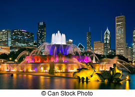 Stock Photographs of Chicago Buckingham Fountain.