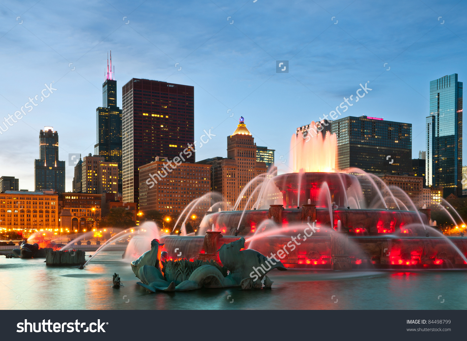 Buckingham Fountain Grant Park Chicago Illinois Stock Photo.