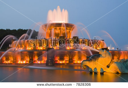 Buckingham Fountain Sunset Stock Photos, Royalty.