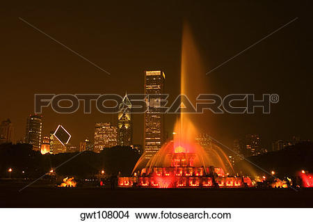 Stock Photo of Water fountain lit up at night, Clarence Buckingham.