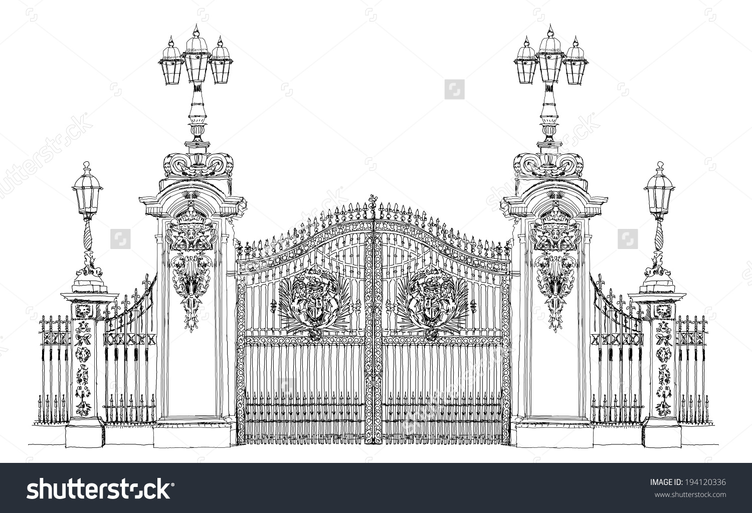 London Sketch Collection Buckingham Palace Gate Stock Vector.
