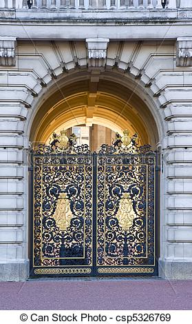 Stock Photographs of Detail view of front gates to Buckingham.