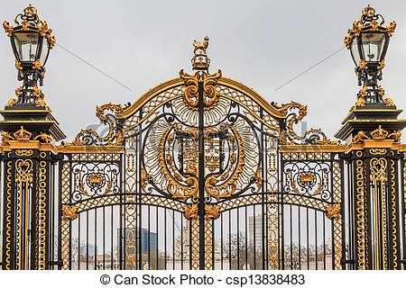 Pictures of Ornate Gate at Buckingham Palace, London, UK.
