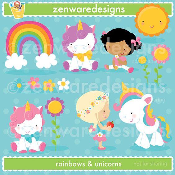 Rainbow Unicorn Clipart.