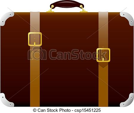 Vector Illustration of Brown suitcase with straps and buckles.