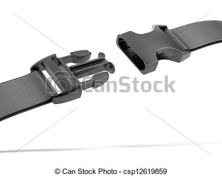 Stock Illustrations of Black plastic buckle isolated on a white.
