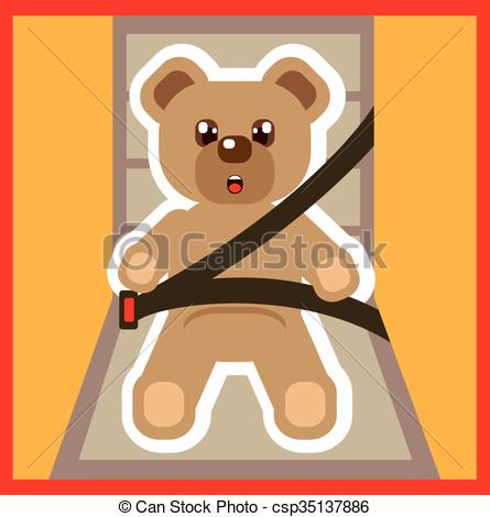 Vector of Teddy Bear buckle Up Vector csp35137886.