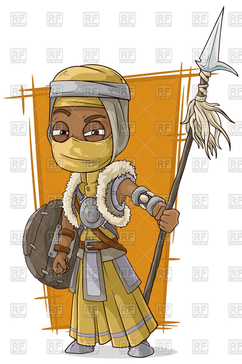Cartoon cool persian assassin with spear and buckler Vector Image.