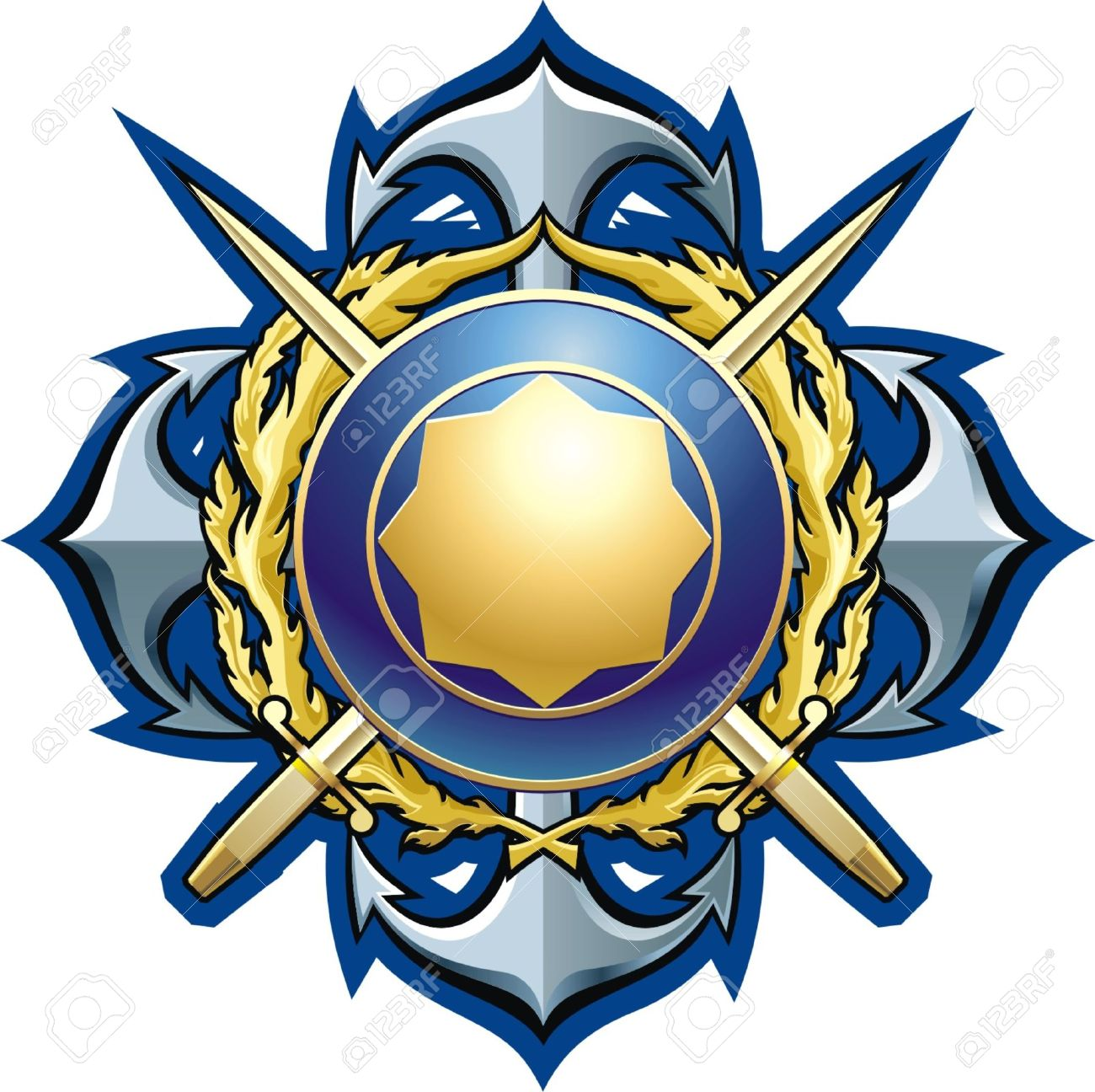 NAVY Style Badge Cross Daggers, Anchors And Buckler Royalty Free.