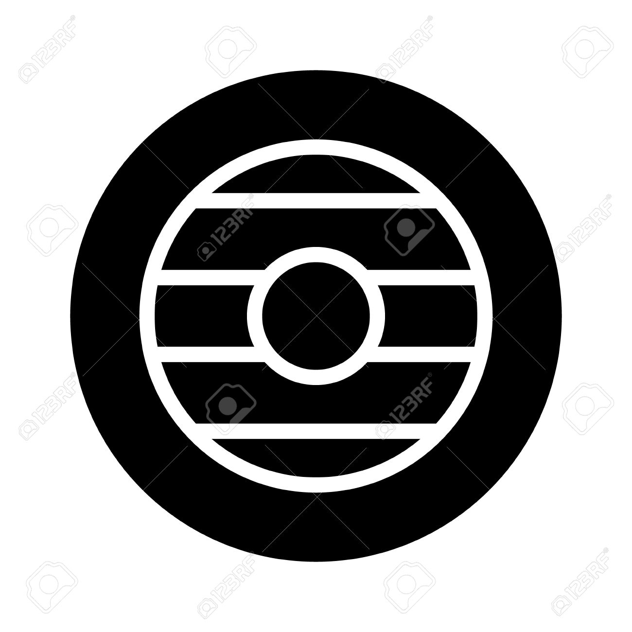 Buckler Round Wooden Shield Flat Icon For Games And Websites.