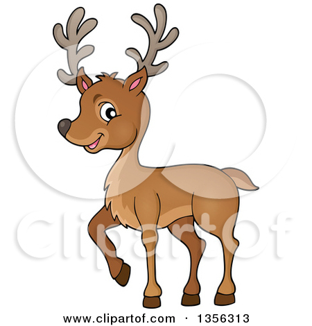 Clipart of a Cartoon Male Stag Deer Holding out Big Bucks and.