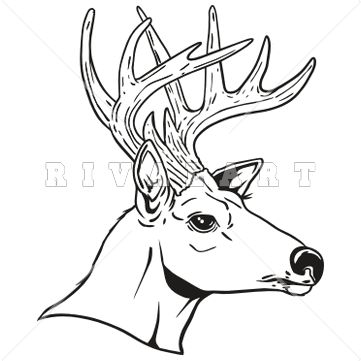 Sports Clipart Image of Black White Bucks 10 Point Hunting Game.