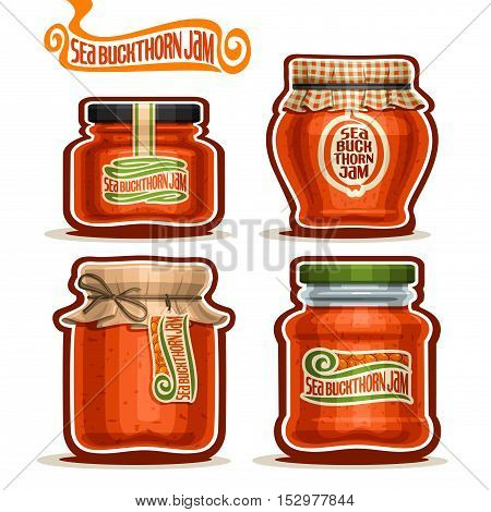 logo Seabuckthorn Jam in Jars with paper lid, Pot home made.