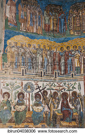 """Stock Images of """"Christian wall painting, Voronet Monastery."""