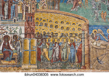 """Stock Image of """"Christian wall painting, Voronet Monastery, UNESCO."""
