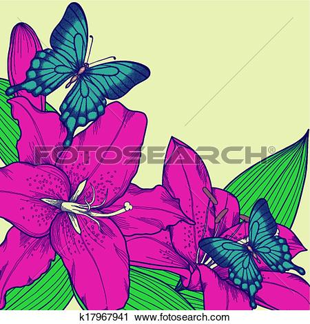 Clipart of beautiful background for a card with butterflies, lily.