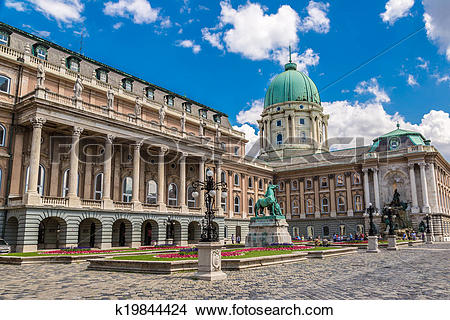 Stock Photo of Budapest, Buda Castle or Royal Palace with horse.