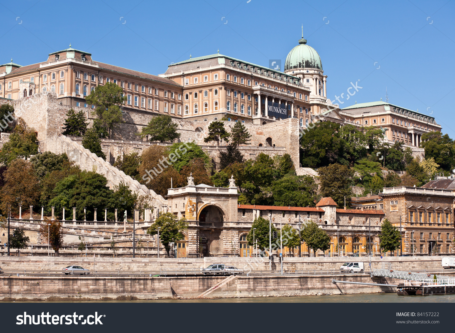 View Of Buda Castle In Budapest From Danube River Stock Photo.