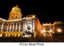 Stock Images of shot of night Buda Castle in Budapest, Hungary.