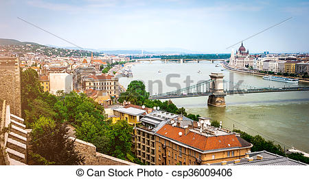 Stock Photography of view on Budapest from Buda castle wall.