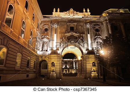Stock Images of Buda Castle in Budapest, Hungary.