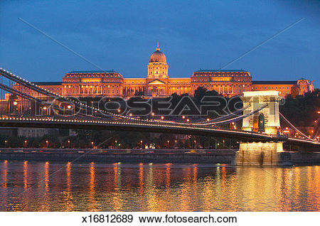 Stock Photograph of Hungary, Budapest, Buda Castle and Chain.