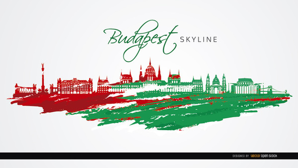 Budapest City Monuments Flag Colors Free Vector.