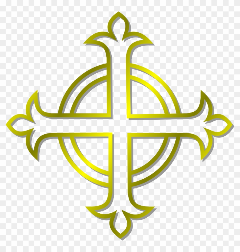 Gold Budded Cross Vector Clipart Image.