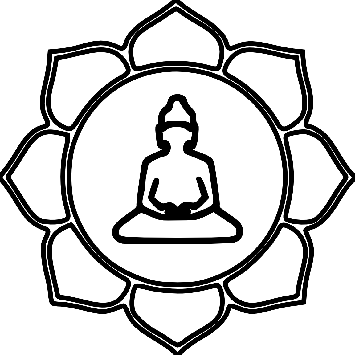 Buddha Flower Color Black White Line Art Coloring Book.