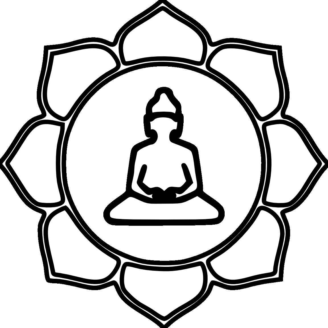 Buddha Flower Color Black White Line Art Coloring Book.