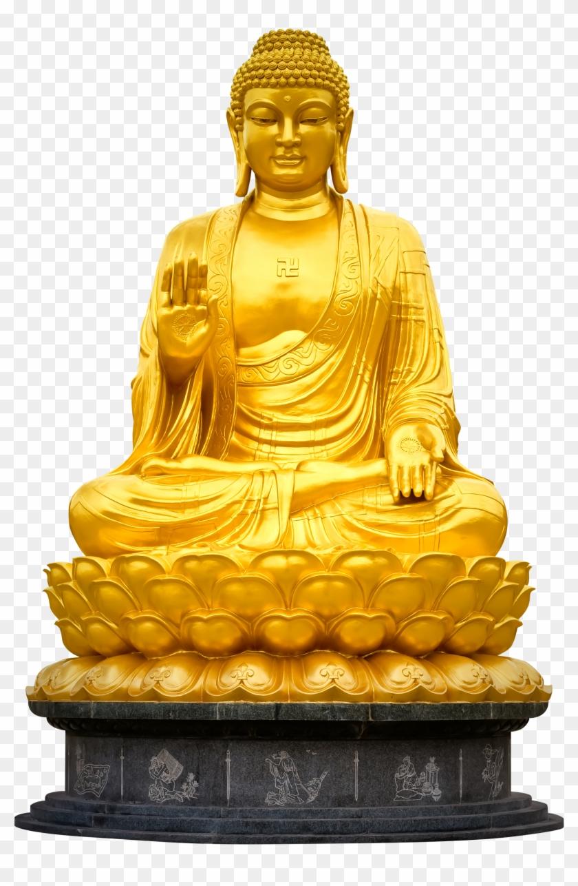 Gautam Buddha Golden Statue, HD Png Download.