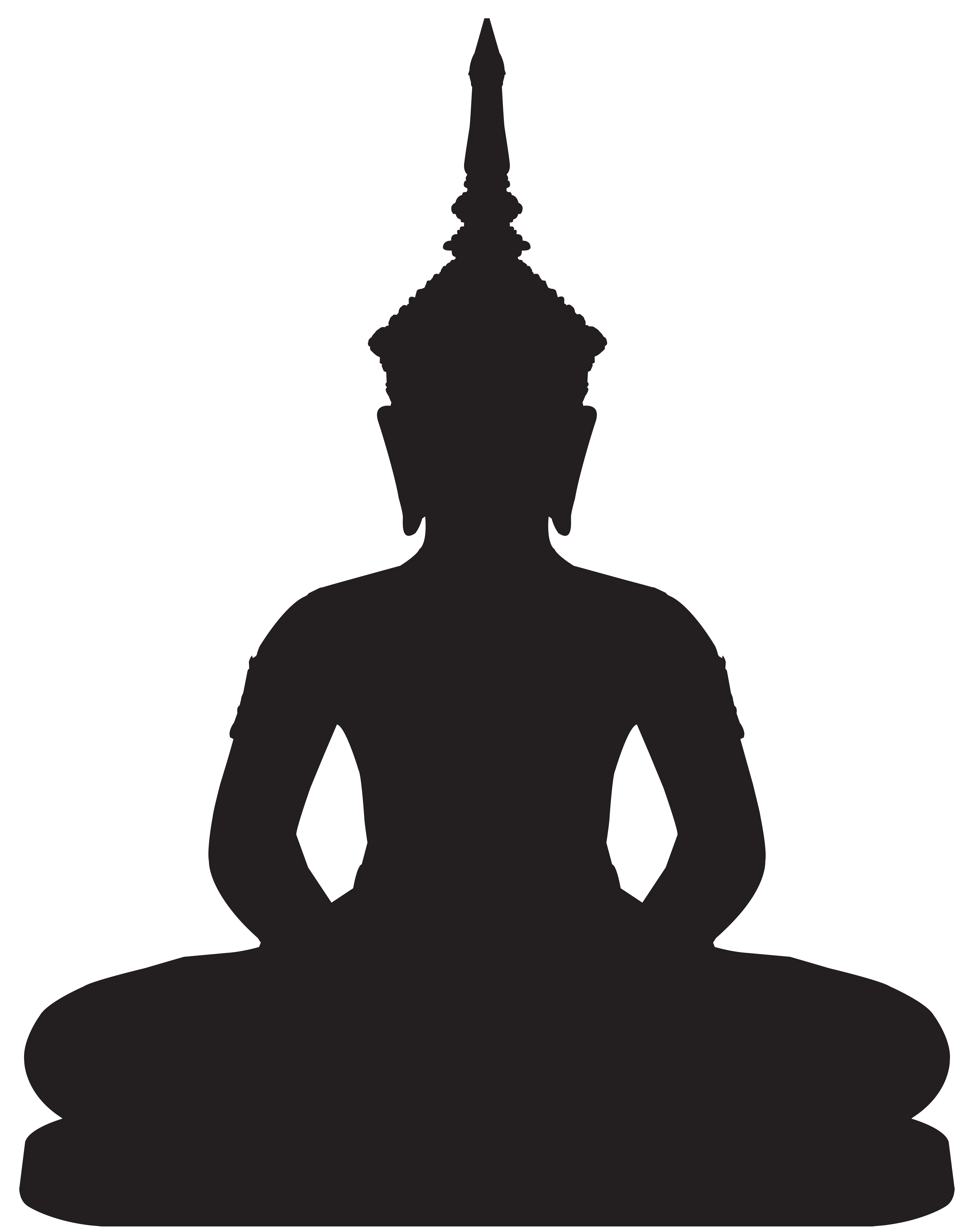 Buddha Statue Silhouette PNG Clip Art.